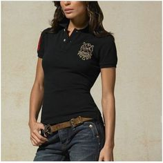 Ralph Lauren Refined Logo Black Fashion Breathable Short Sleeved $34.35