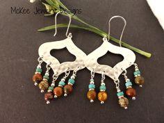 Jasper stone, turquoise and silver metal earrings. Bohemian Jewelry. Andria McKee, McKee Jewelry Designs
