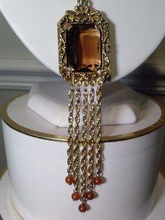 Vintage Necklace TOPAZ GLASS TASSEL Pendant large GOLDETTE Signed SAUTOIR…