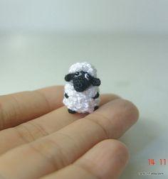 Tiny fat sheep- Crochet stuffed animal - Amigurumi miniature Check out www.missdollhouse.com