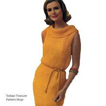 Knitted Mohair Dress Pattern is sleeveless with Ring Collar and belted waist.   This 1960's design is available at Vintage Knit Crochet Pattern Shop