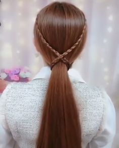 Belle coiffure - Haare - Tricot et Crochet Easy Hairstyle Video, Easy Hairstyles For Long Hair, Braided Hairstyles, Hairstyles With Ribbon, Rose Hairstyle, Ribbon Hairstyle, Medium Hair Styles, Curly Hair Styles, Hair Upstyles