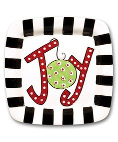 Loving this 11'' Red & Green 'Joy' Ornament Ceramic Plate on #zulily! #zulilyfinds