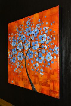 Impasto painting cherry blossom tree painting by ZarasShop on Etsy