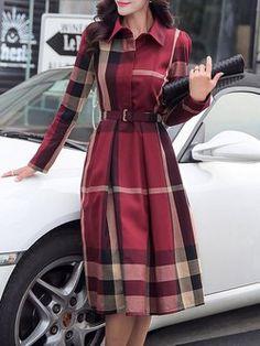 Kariertes / Plaid A-Linie Kleid mit Gürtel