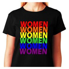 LESBIAN Shirt Women in Rainbow Colors_Rainbow Pride T-shirt... ($20) ❤ liked on Polyvore featuring tops, t-shirts, shirt tops, cotton shirts, cotton tee, stitch t shirt and tee-shirt