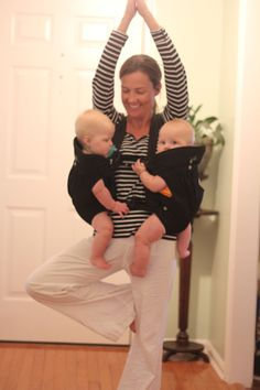 Watch SuperMom do yoga with her #twins while using a TwinTrexx 2 Twin Baby Carrier!