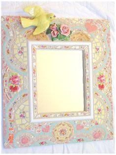 vintage inspired china mosaic mirror