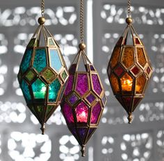 Moroccan Hanging Glass Lantern by TheBlankDesigns on Etsy