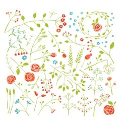 Floral doodle field flowers and plants decoration vector - by Popmarleo on VectorStock®