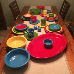 Classic crayon colors of fiesta ware: peacock, red, sunflower, and scarlet