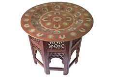 Moroccan-Style Brass Tray Table