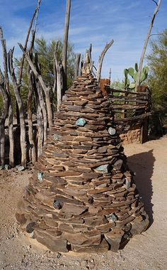 """Ted DeGrazia believed that everyday should be Christmas so after he passed his wife Marion had this sculpture made. It's titled """"DeGrazia's Everlasting Christmas Tree"""" and is on the property next to Ted's gravesite."""