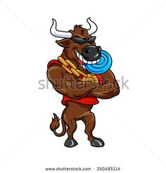Happy cartoon bull with a blue Frisbee