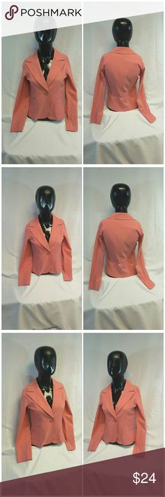 """SIRENS Made in USA Fitted Blazer size Small SIRENS, Made in USA, Fitted Blazer, size Small See Measurements, short, 2 patch pockets, notched collar, padded shoulders, single button closure, 75% rayon, 22% nylon, 3% spandex, approximate measurements: 21 1/4"""" length shoulder to hem, 16"""" bust laying flat, 22"""" sleeves, 14"""" width shoulder seam to shoulder seam. ADD TO A BUNDLE! 20% BUNDLE DISCOUNT SIRENS  Jackets & Coats Blazers"""