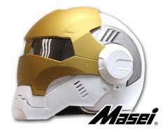 Masei White Atomic-Man Mark 39 610  Harley Bike Motorcycle Chopper Helmet E114 #MaseiHelmet