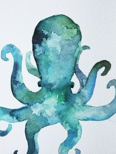 watercolor octopus ...and of course the blue teal turquoise and green !