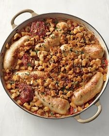 Pork Sausages and White Beans, Recipe from Martha Stewart Living, January 2012