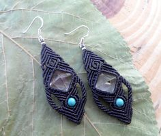 Crystal Quartz macrame earrings micromacrame by SelinofosArt