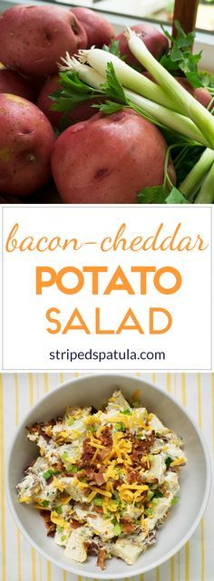 With cheddar cheese, bacon, scallions, and sour cream in every bite, Bacon Cheddar Potato Salad is summer barbecue comfort food at its best. Side Dishes For Bbq, Vegetable Side Dishes, Vegetable Recipes, Making Potato Salad, Loaded Potato Salad, Baked Potato Toppings, Potato Recipes, Healthy Cooking, Cooking Recipes
