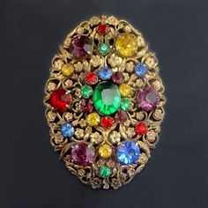 Large 1930s Rhinestone Dress Clip Multicolor Jewel Tones Forget Me Not