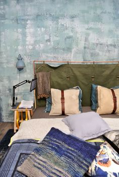Hand Power & Recycling - copper headboard with canvas cover