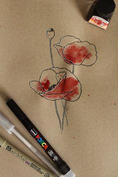 "Day 22: Mapoula (Amapola) ""Papaver rhoeas""  #InkTober #InkTober2016 #InkToberEspaña #FloraDaGaliza Inktober, Tattoos, Drawings, Armadillo, Poppies, Tatuajes, Tattoo, Sketches, Drawing"