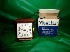 Vintage Westclox Keywound Travel Alarm Clock Touralarm #44515 tan Luminous New find me at www.dandeepop.com