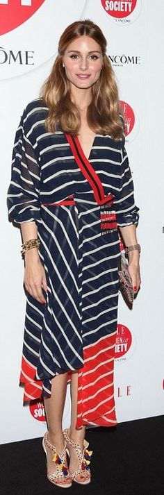 Who made Olivia Palermo's blue stripe dress and red sandals?