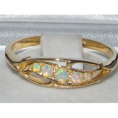 9K Yellow Gold Womens Opal Anniversary Eternity Band Ring $355