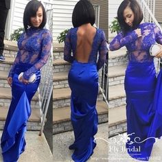 Illusion Design 2016 Royal Blue Long Sleeve Evening Dress Mermaid Embroidery Lace Sexy Open Back Prom Dresses Robe De Soiree