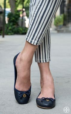 Balance statement stripes with an understated shoe — the Tory Burch Chelsea ballet flat
