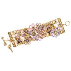 Betsey Johnson Bracelet, Flower Charm Toggle Bracelet