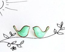 Mint Birds Earrings - Birdie post studs earrings Bird Jewelry