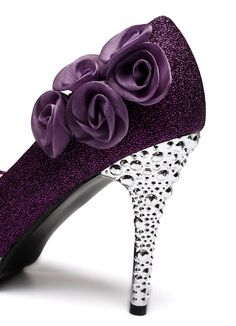 765ad477e5a1 getmorebeauty Womens Rose Flower Crystal Glitter Wedding Shoes 7 BM US  Purple   Want to know more