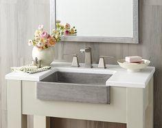 Native Trails Nipomo Native Stone Bathroom Sink on Home Bathroom Ideas 3378 Stone Bathroom Sink, Farmhouse Bathroom Sink, Bathroom Sink Vanity, Master Bathroom, Bathroom Cabinets, Modern Bathroom, Small Bathroom, Apron Front Kitchen Sink, Apron Sink
