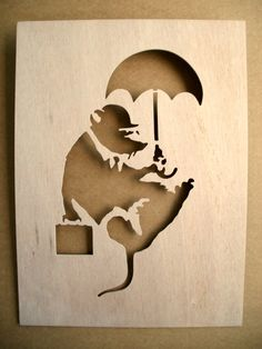 Banksy Rat Businessman Wooden Stencil by existencil on Etsy, $7.50