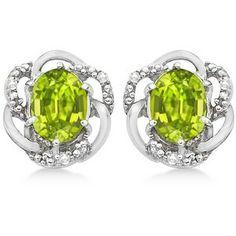 Allurez Oval Green Peridot & Diamond Stud Earrings in 14K White Gold (3.05ct)