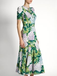 Hortensia-print cady midi dress | Dolce & Gabbana | MATCHESFASHION.COM