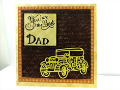 Fathers Day Card With a Yellow Antique Car and a Golden Trophy by Chris of PaperMagicFantastic, $4.75