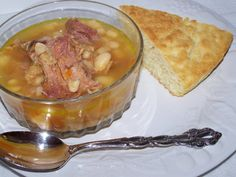 Great Northern Bean Soup And Corn Bread Recipe. Click The Photo For The Recipe.
