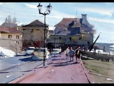 How to paint a scene with figures and shadows - Watercolour Demonstration by Tim Wilmot #13 - YouTube