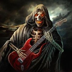 Heavy Metal Art, Heavy Metal Bands, Woodstock, Skeleton Pics, Model Airbrush, Hard Rock, Crane, Dark Art Paintings, Horror Artwork