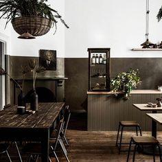 Breakfast here today! @trentham.general   Interior design - me   Wall colour - @lyndagardener in collaboration with @bauwerkcolour below colour GENERAL- above BLEACHED WHITE  #lyndagardenerxbauwerkcolour   Photo- @danny_wootton   #coffee #food #provisions #homegoods #homewares #oldandnew    #Regram via @www.instagram.com/p/BsTkpYGhFdf/ Led Garage Lights, Led Shop Lights, Garage Lighting, Round Ceiling Light, Led Ceiling Lights, Industrial Interiors, Dark Interiors, Track Lights Living Room, Cafe Interior