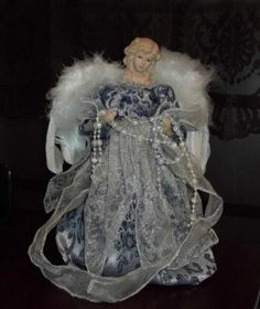 "12"" Porcelain Angel Tree Topper feather wings, pearls, Blue Silver White"