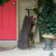 Vintage / Antique Sled / Metal Wood Snow Sled / Wooden Sleigh