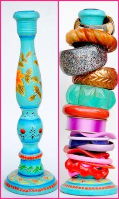 5 Easy DIY Bracelet Organizer Ideas- Candlesticks