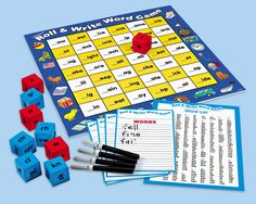 Roll & Write Word Game at Lakeshore Learning for Mason Writing Games, Reading Games, Teaching Reading, Teaching Kids, Writing Ideas, Phonics Games, Word Games, Lakeshore Learning, Coding For Kids
