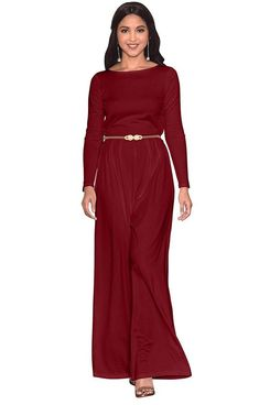 b987b428008 Women s Formal Jumpsuit Long Sleeve Wide Leg Belted Cocktail Jumpsuit