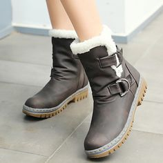 Buy Women Winter Fashion Warm Fur Buckle Short Suede Snow Boots 4 Colors at Wish - Shopping Made Fun Casual Winter Boots, Winter Shoes, Casual Shoes, Brown Ankle Boots, Mid Calf Boots, Boot Over The Knee, Beige Heels, Zara, Boots Online